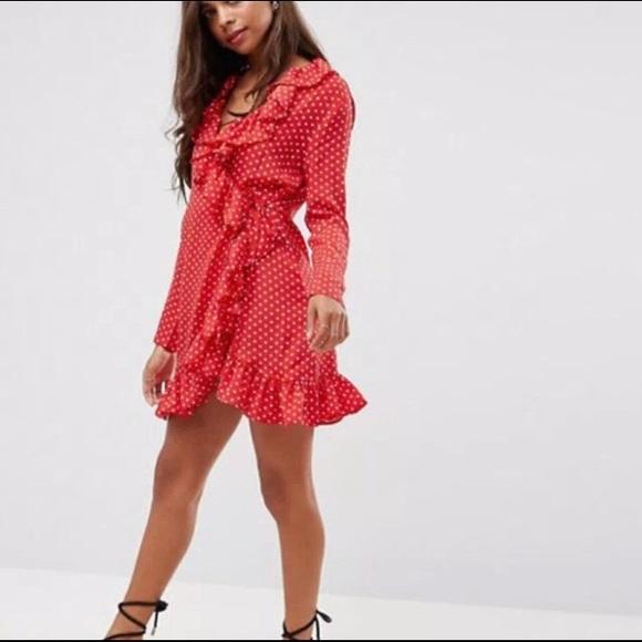 6f4d933e822 Boohoo Dresses   Skirts - Red ruffle wrap dress with white polka dots. 💃